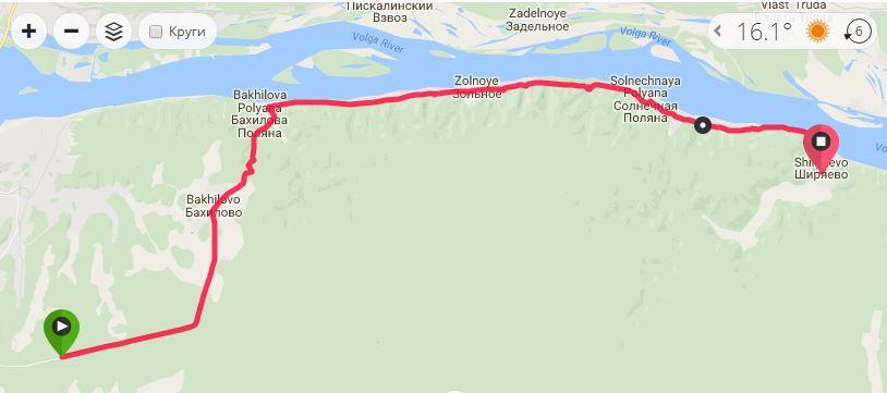 """Маршрут трассы марафона """"Самарская лука""""."""